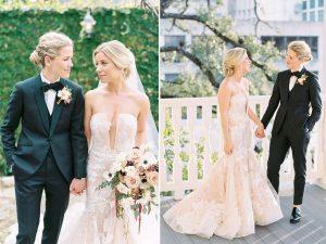 Une mariée portait une robe de mariée à fleurs avec une découpe audacieuse qui complétait le costume vert personnalisé de sa femme