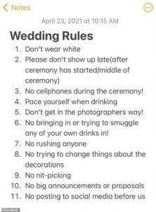 """La mariée est critiquée pour sa liste """" ridicule """" de 11 règles strictes pour les invités au mariage"""