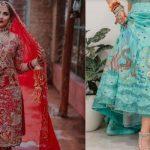 """Le costume de mariage de la mariée punjabi a """" Garden Of Eden """" et la robe Mehendi a la vie aquatique brodée"""