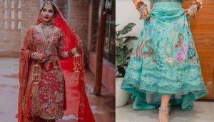 Le costume de mariage de la mariée punjabi a « Garden Of Eden » et la robe Mehendi a la vie aquatique brodée