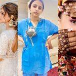 Rencontrez cette mariée chirurgienne, dont les tenues de mariage étaient un festival de couleurs contrairement au manteau de son médecin