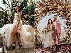 Une mariée portait une robe transparente et scintillante avec une fente dramatique pour son mariage intime à Tulum